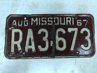 DMV Clear August 1967 MISSOURI Passenger License Plate YOM Clear RA3-673 MO 67 in Year and Number