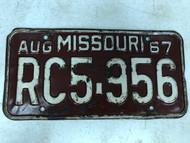 DMV Clear August 1967 MISSOURI Passenger License Plate YOM Clear RC5-956 MO