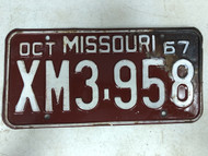 DMV Clear October 1967 MISSOURI Passenger License Plate YOM Clear XM3-958 MO