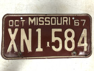 DMV Clear October 1967 MISSOURI Passenger License Plate YOM Clear XN1-584 MO