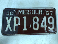 DMV Clear October 1967 MISSOURI Passenger License Plate YOM Clear XP1-849 MO