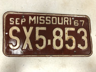 September 1967 MISSOURI License Plate SX5-853