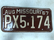 August 1967 MISSOURI License Plate PX5-174