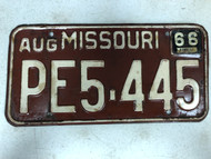 DMV Clear August 1966 MISSOURI Passenger License Plate YOM Clear PE5-445 MO