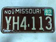 DMV Clear November 1963 MISSOURI Passenger License Plate YOM Clear YH4-113 MO