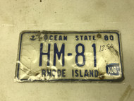 August 1980 (tag 1997) Rhode Island License Plate HM-81 Anchor