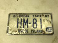 August 1980 (tag 1997) Rhode Island License Plate HM-81 Anchor