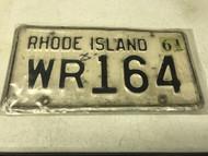 1961 Rhode Island License Plate WR164