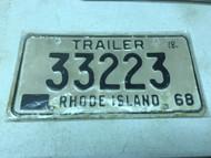 1968 Rhode Island Trailer License Plate 33223