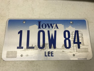 expired Lee County Iowa License Plate 1LOW-84, 1low, farm.