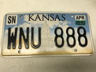April 2008 Shawnee county Kansas License Plate WNU-888, 888, state capital.