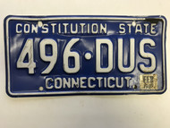 February 1987 Connecticut License Plate 496-DUS.
