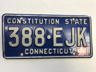 November 1997 Connecticut License Plate 388-EJK.