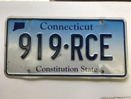 expired Connecticut License Plate 919-RCE.