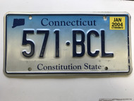 January 2004, Connecticut License Plate 571-BCL.