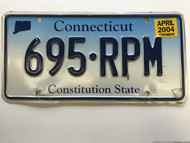 April 2004, Connecticut License Plate 695-RPM.