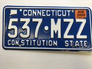 August 2000, Connecticut License Plate 537-MZZ.
