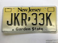 expired, New Jersey License Plate JKR-33K.