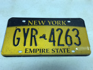 expired, Yellow New York License Plate GYR-4263.