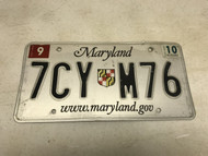 September 2010 , white Maryland License Plate 7CY-M76.
