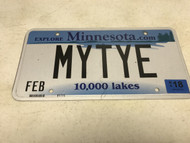 February 2018, white Minnesota License Plate MYTYE.