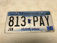 January 2018, white Minnesota License Plate 813-PAY.