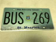 Expired, green Sint Maarten License Plate BUS-269.