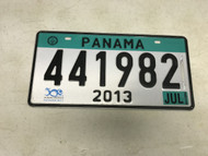 July 2013, Turquoise Panama License Plate 441982.
