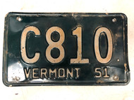 1951 VERMONT License Plate C810