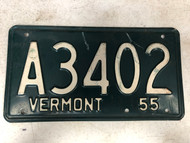 1955 VERMONT License Plate A3402