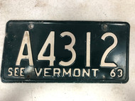1963 See VERMONT License Plate A4312