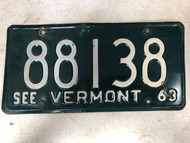 1963 See VERMONT License Plate 88138