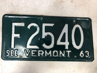 1963 See VERMONT License Plate F2540