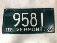 1965 See VERMONT License Plate 9581