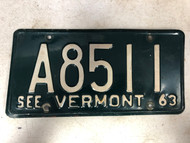 1963 See VERMONT License Plate A8511