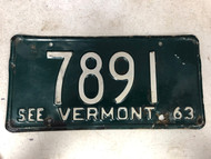 1963 See VERMONT License Plate 7891