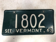 1963 See VERMONT License Plate 1802