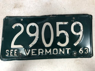 1963 See VERMONT License Plate 29059