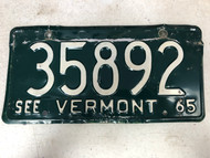 1965 See VERMONT License Plate 35892