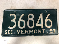 1957 See VERMONT License Plate 36846