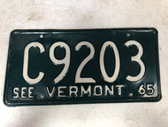 1965 See VERMONT License Plate C9203