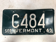 1963 See VERMONT License Plate C484