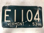 1953 VERMONT License Plate E1104