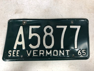 1965 See VERMONT License Plate A5877