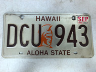September 1991 Tag HAWAII Aloha State License Plate DCU-943 DC Universe
