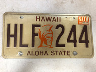 November 1989 Tag HAWAII Aloha State License Plate HLF-244