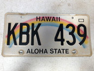 Expired HAWAII Aloha State License Plate KBK-439 Rainbow