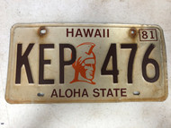 1981 HAWAII Aloha State License Plate KEP-476
