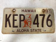 1981 HAWAII Aloha State License Plate KEP-476