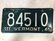 1965 See VERMONT License Plate 84510